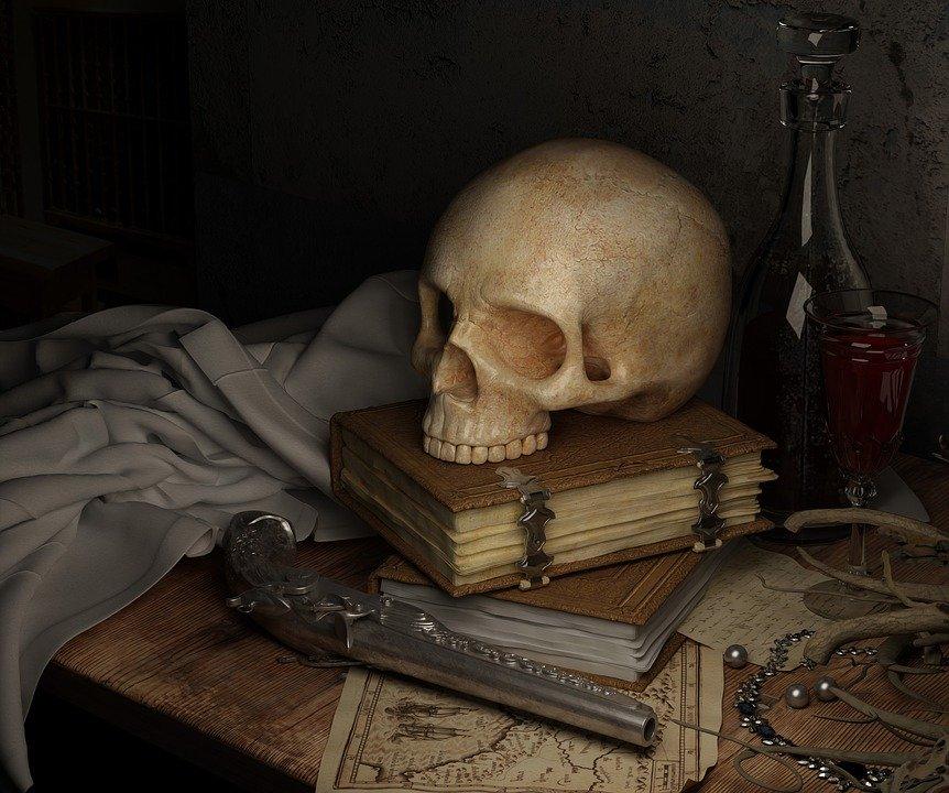 lebka na knihách